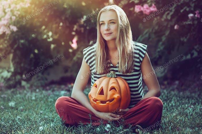 Pretty Girl Celebrates Halloween Holiday