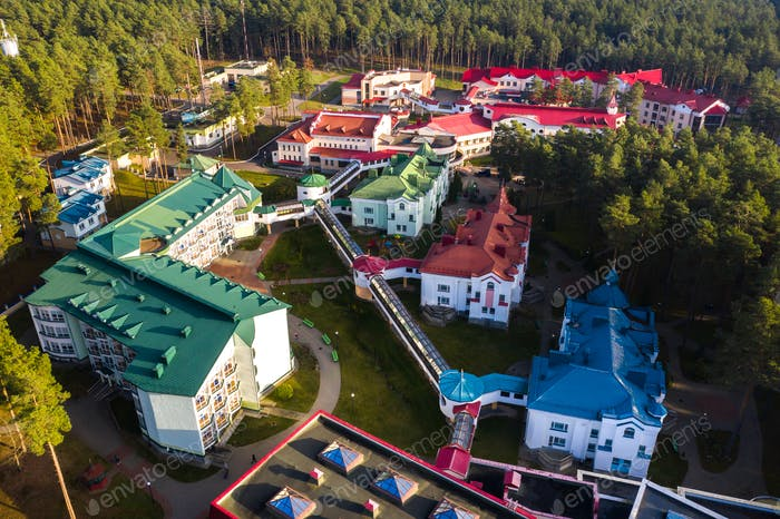 View from the height of the Autumn sanatorium Ruzhansky in Belarus