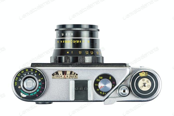 Vintage analog camera on white background