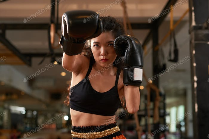 Training in boxing gloves