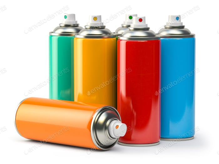 Colorful graffity spray paint cans or bottles of aerosol isolated on white.
