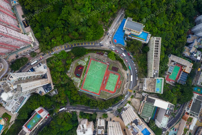 North Point, Hong Kong 01 June 2019: Aerial view of football court