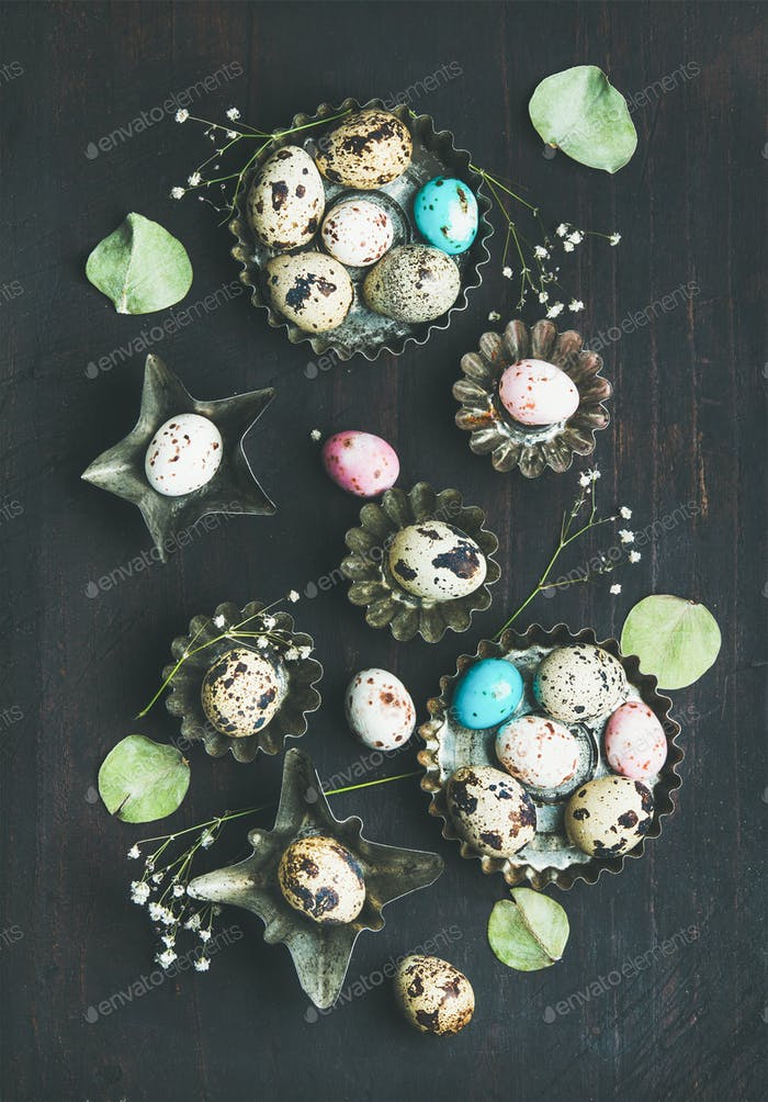 Colorful quail eggs, dried wild flowers and leaves, Easter celebration