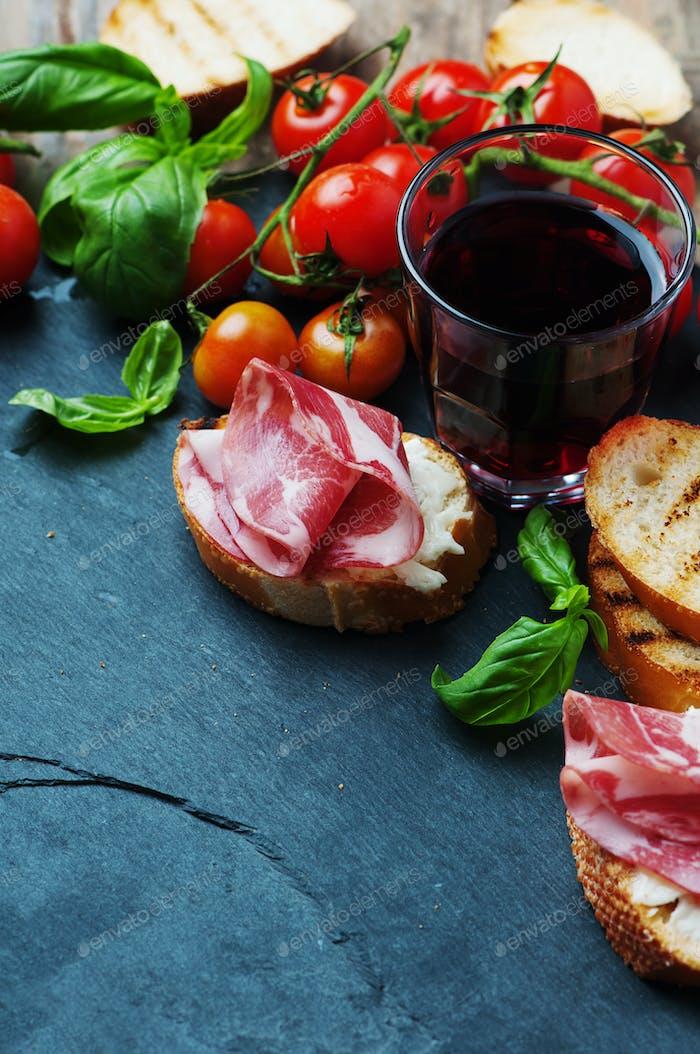 Traditional italian antipasto