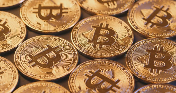 Bitcoin in golden colour