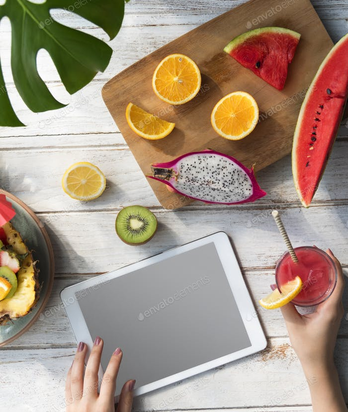 Mockup Copyspace Summer Fruits Digital Tablet Concept
