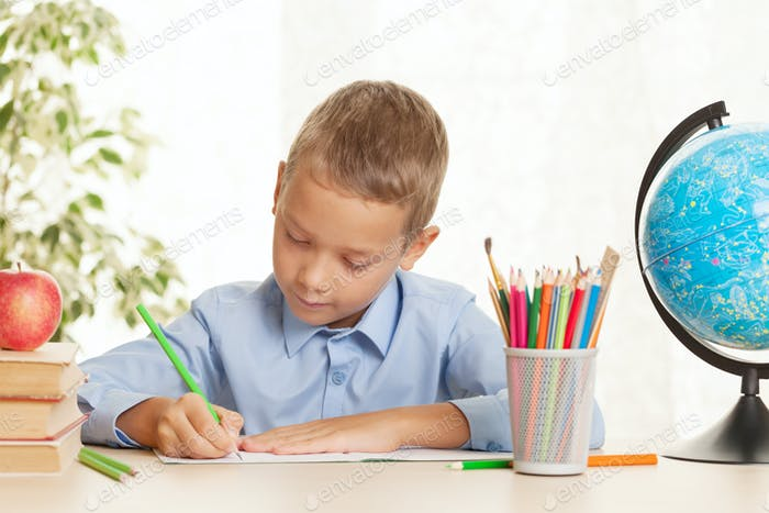 Young schoolboy sitting at the table and doing homework