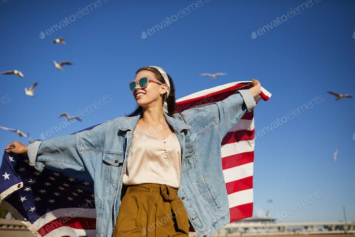 Independent girl with American flag