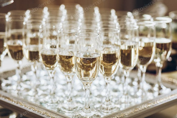 Glasses of champagne at luxury wedding reception