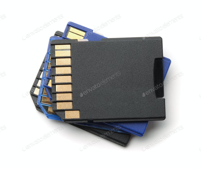 Stack of SD memory cards