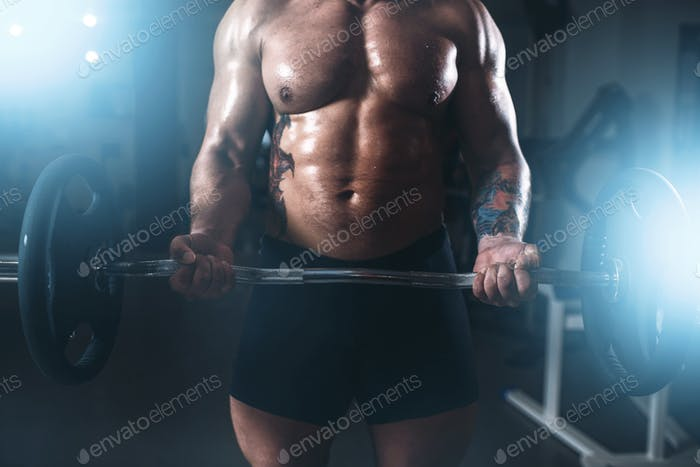 Strong athlete lifting the barbell in sport gym