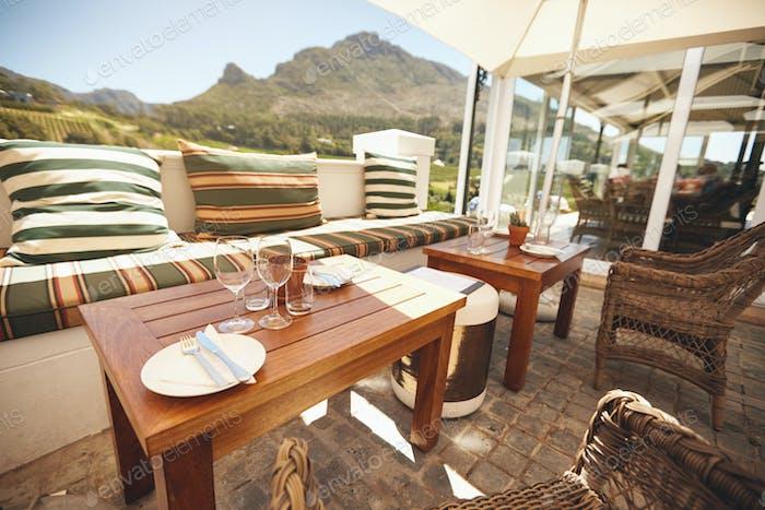 Luxurious winery courtyard restaurant