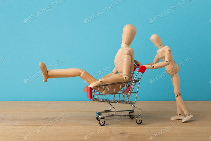 Wooden mannequins running for sales