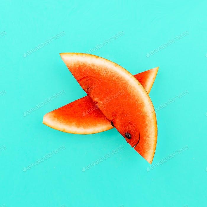 Piece of watermelon. Fresh tropical ideas. Minimal Creative art