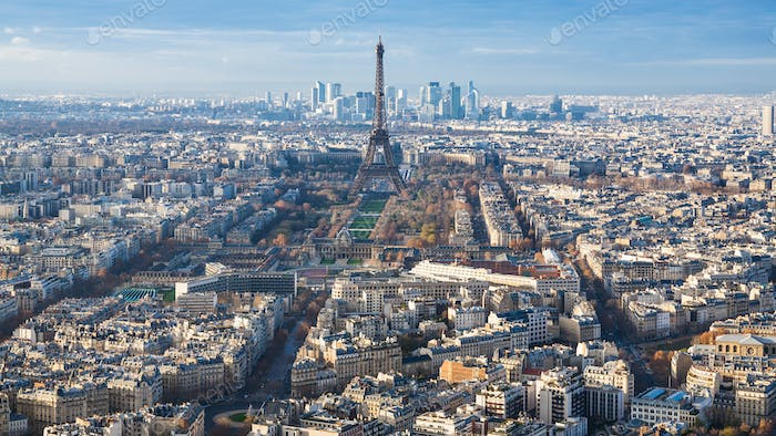 above view of Eiffel Tower and Paris city