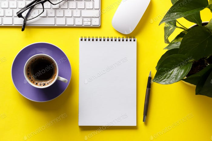 Coffee and notepad mock up