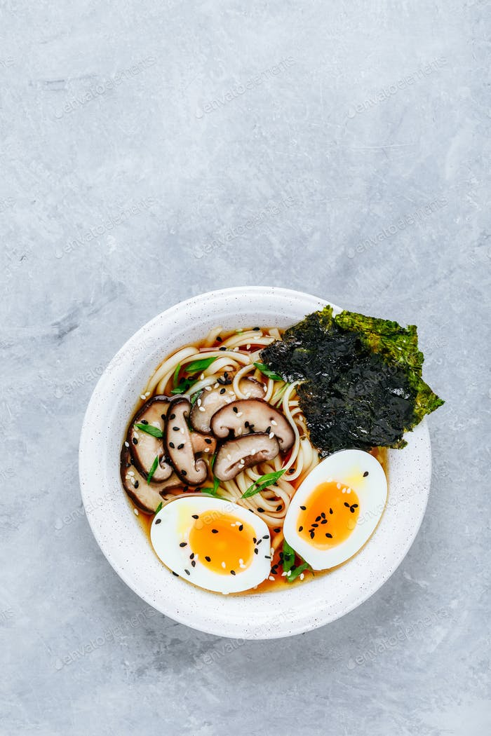 Asian Vegetarian Udon or Ramen noodles soup in bowl