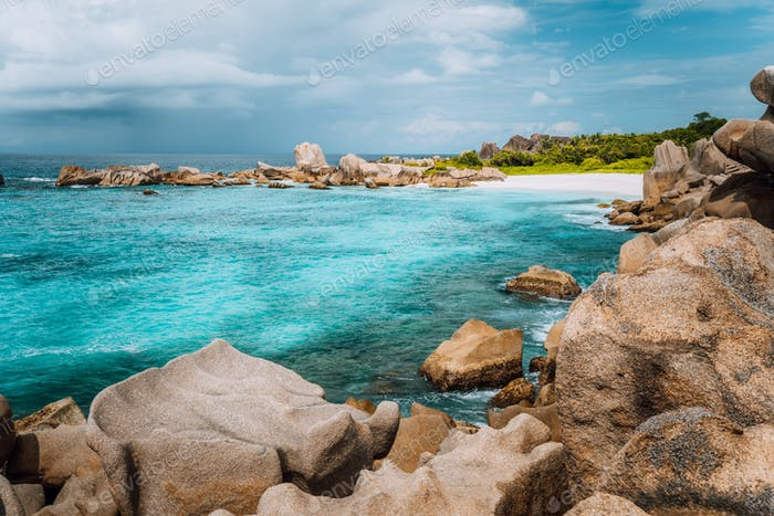 La Digue island, Seychelles. Marron hidden most remote secluded beautiful beach