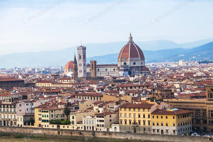 above view town and Cathedral in Florence
