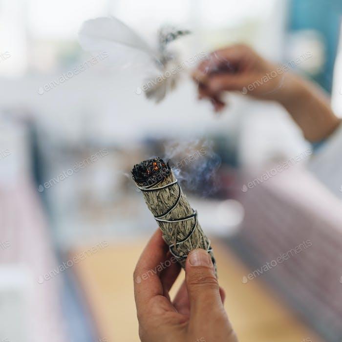 Smudging - Dried Sage Bundle Close up