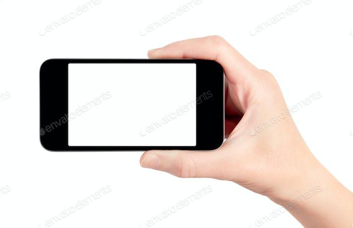 Mobiles Smartphone In Hand isoliert