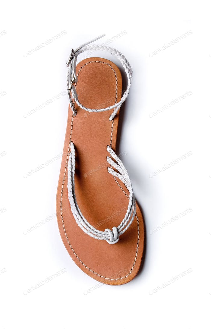 White braided leather flip flop sandal