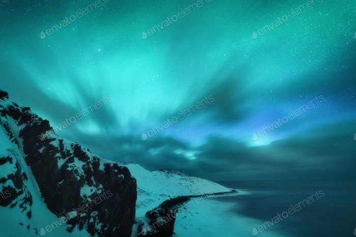 Amazing aurora borealis. Northern lights in Teriberka, Russia