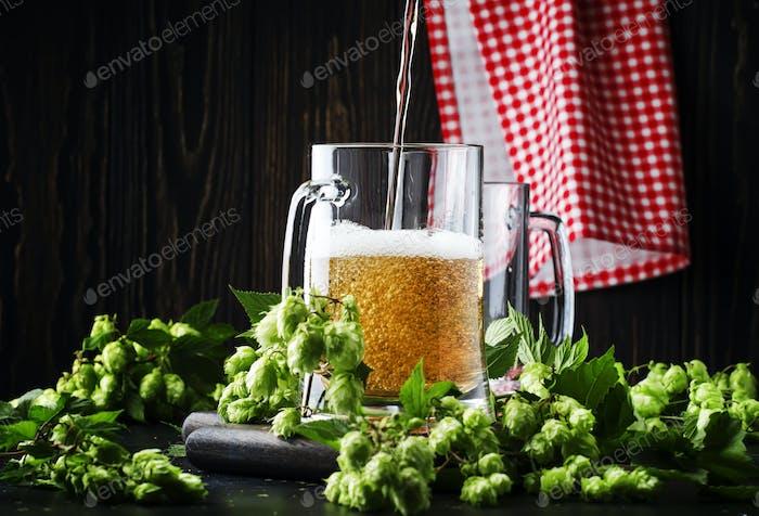 Große Tassen mit deutsches leichtes Bier und frischem Hopfen, gießt in Glas