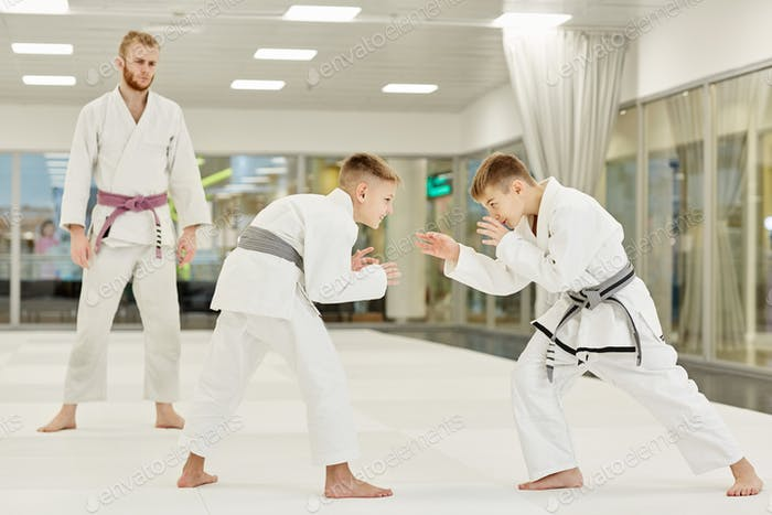 Two boys learning to fight