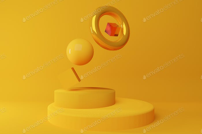 Yellow geometric shapes forms composition on yellow background