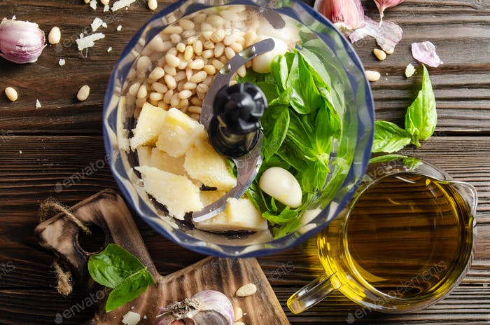 Ingredients for italian national traditional genovese pesto sauce