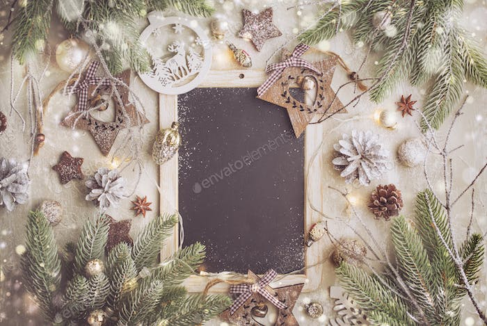 Christmas Background with Festive Decoration and Black Chalk Board