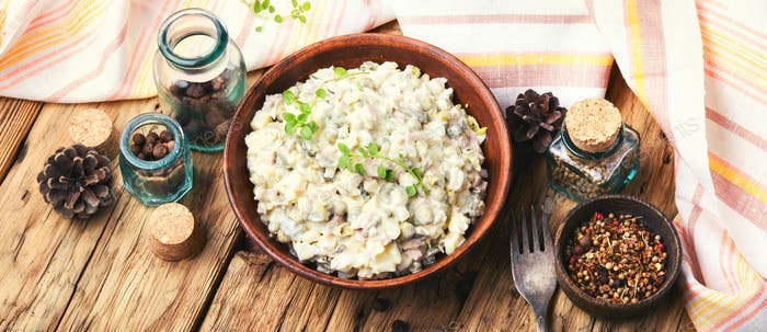 Russian meat salad