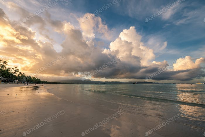 Beautiful sunrise at Boracay beach, Philippines