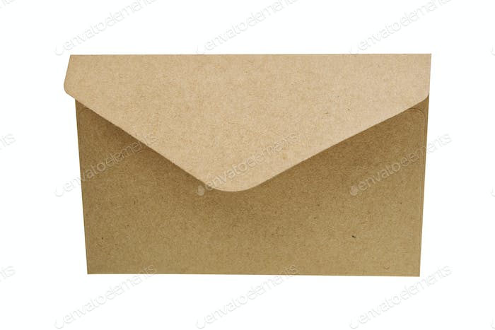 Natural paper envelope on a white background