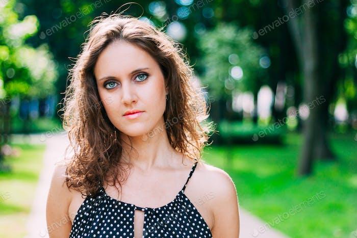 Beautiful Pretty Young Caucasian Woman In Dress