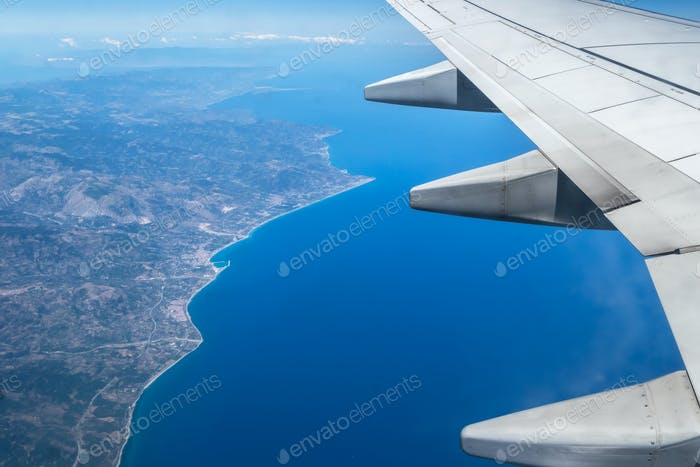 Top view of an airplane