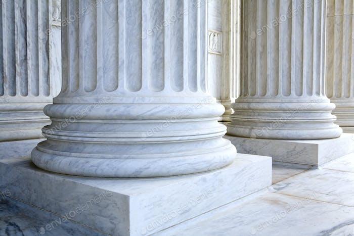 Korinthische Säulen, geriffelte Stil, Mauerwerk Details