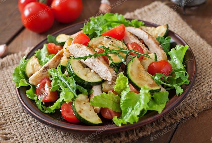 Salat von Hähnchenbrust mit Zucchini und Kirschtomaten.