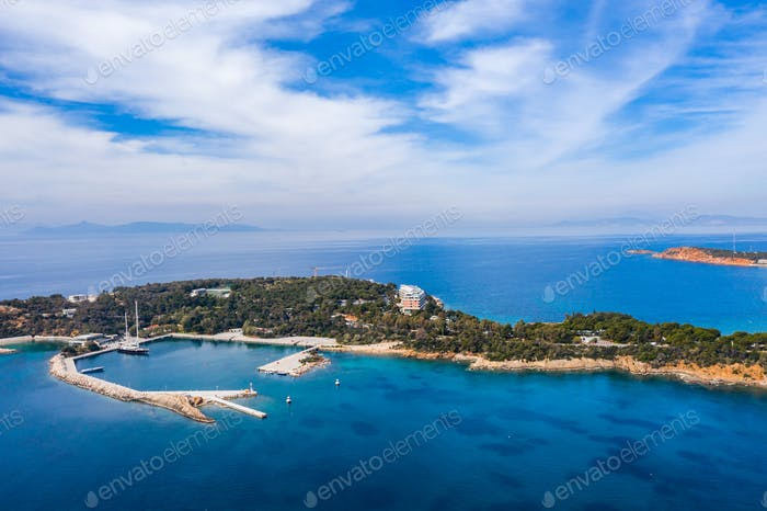 Greece Athens riviera coast, Vouliagmeni bay, birds eye view
