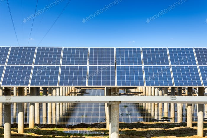 photovoltaic power with blue sky