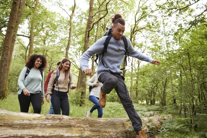 Multi ethnic group of five young adult friends running in a forest