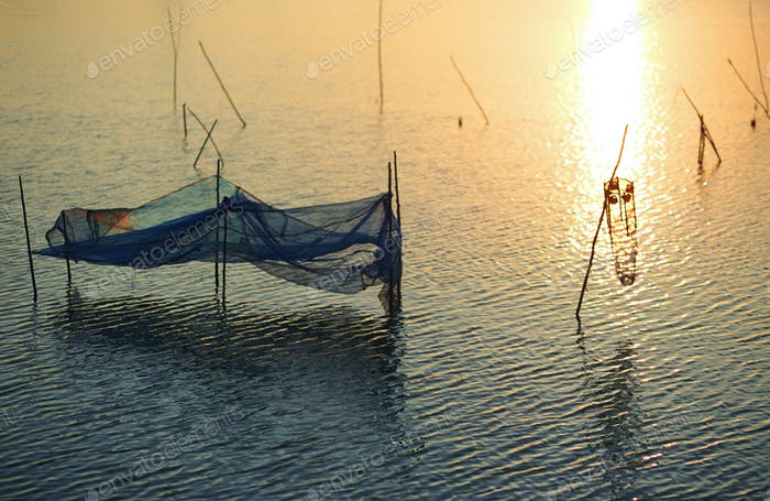 Traps and net of the fishing