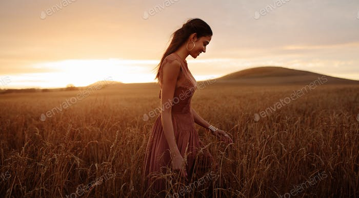 Carefree stroll in the field