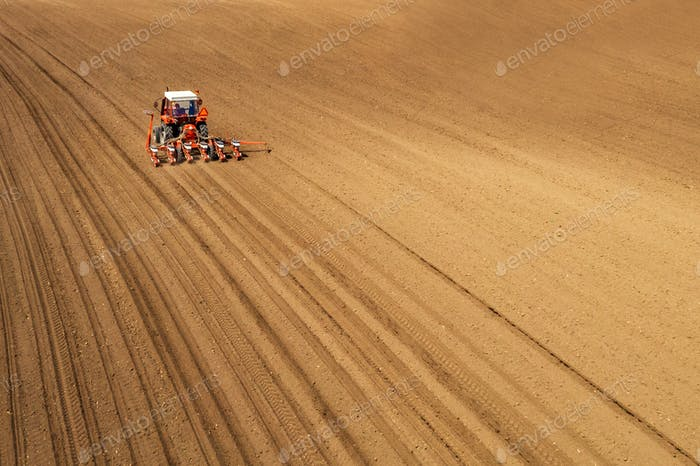 Aerial view of tractor sowing and planting corn in field