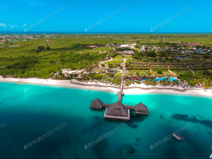 aerial view of the exotic beach resort in coastal area in Zanzibar, Tanzania