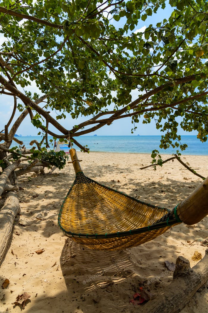 Hammock on the tropical beach