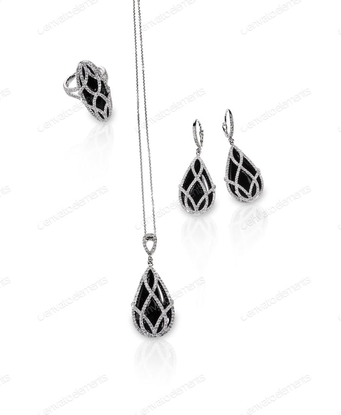 Group of diamond black onyx jewelry