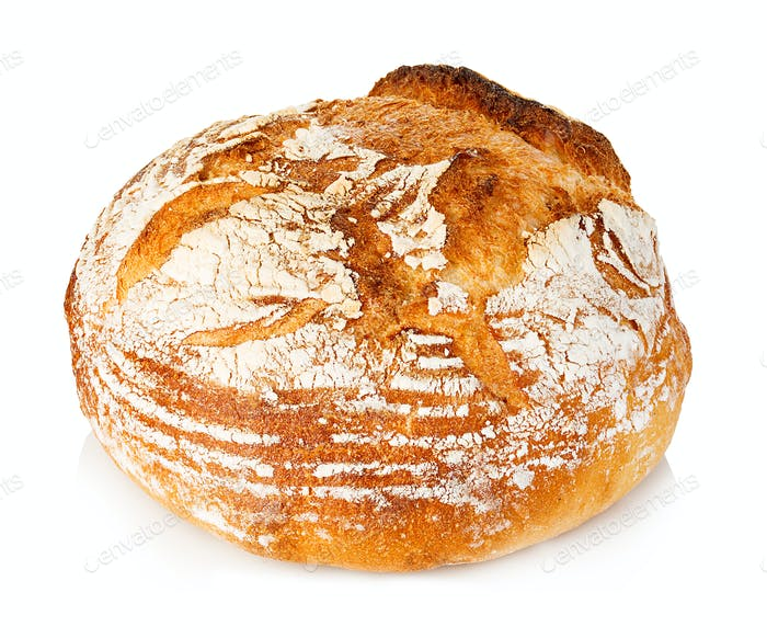 Fresh grain homemade bread on white background.