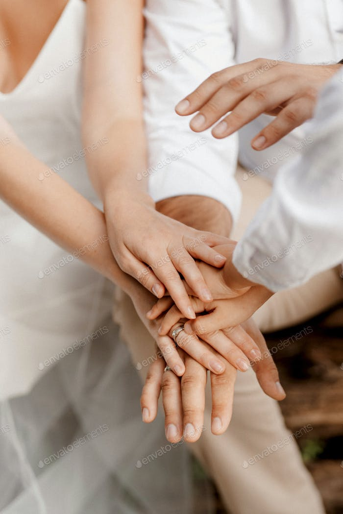 the bride and groom tenderly hold hands between them love and relationships
